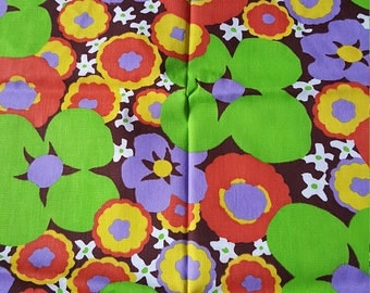 AMAZING 1+ Yard of Vintage Fabric Neon Flowers