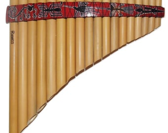 Pan Flute 18 pipes - Nazca Lines Design from Peru - Item in USA -Case Included