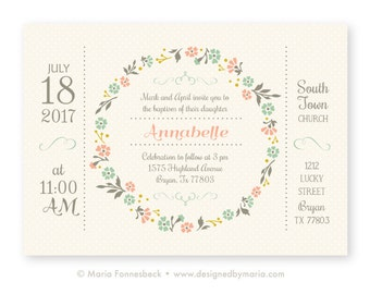 Baptism Invitation Girl Announcement with Pretty Floral Wreath Design - LDS, Catholic, Lutheran, Protestant - custom