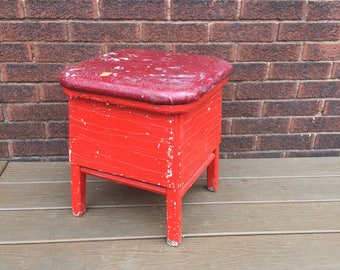 Shabby Chic Old Farm Stool, Red Wood Stool
