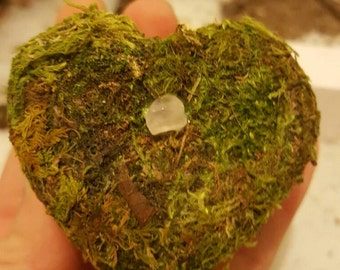 Moss Covered Heart Shape Box/Candle Holder
