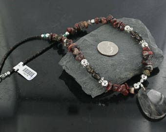 Large 290 retail tag authentic charlene little navajo .925 sterling silver natural turquoise smoky quartz native american necklace 15218-8