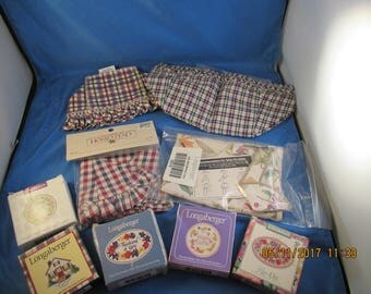 Lot of Longaberger items ~ basket linen liners and tie ons