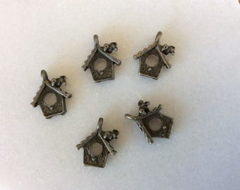 Antique bronze bird house charm pendant