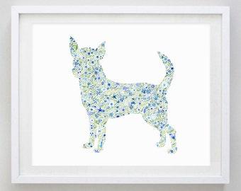 Chihuahua Floral Dog Watercolor Print