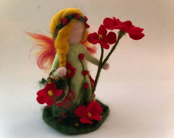 Spring-Summer Fairy.Waldorf. Hand-felted. Needle felted .Waldorf