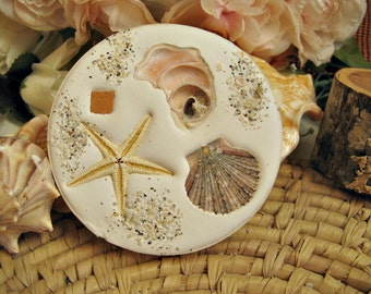 Absorbent drink coasters. Set of 4. Absorbent clay Florida shell coasters with real embedded shells and starfish. Beach home gift. Handmade.