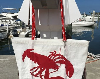 XLG zippered top Red Lobster recycled sail cloth shoulder bag
