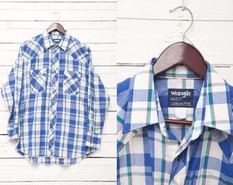 Vintage Blue Mens Shirt / 90s Mens Blue White Plaid Checked Long Sleeve Shirt / Men Hipster Indie Urban Lumberjack Daily Wear/ Size XL