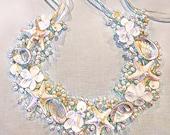 White Abalone Bridal Crown- Beaded Sea Shell Bridal Crown- Beach Wedding Crown-Mermaid Bridal Headband-Sea Star Bridal Crown
