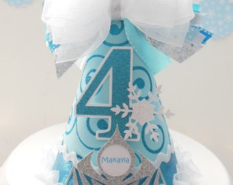 Lil Frozen Princess - Aqua, White and Turquoise Glitter - Snowflake Princess Birthday Party Hat - Personalized