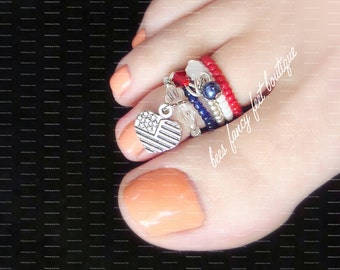 Stacking Toe Ring | America | USA | Heart Charm | Crystal Bicones | Stretch Bead Toe Ring