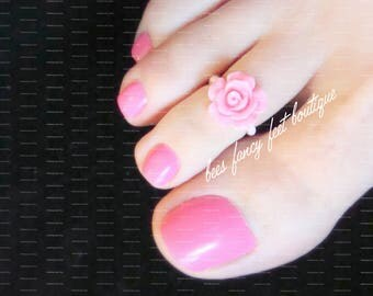 Toe Ring | Bubble Gum Rose | Pink Micro Beads | Stretch Toe Ring