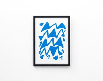 Triangle Waves Screen Print | Screen Printed, Minimalist Screen Print | Wall Decor | Wall Print | Hand Screen Printed