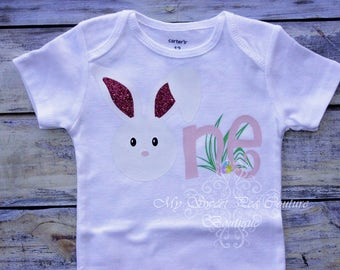 Bunny First Birthday Outfit- Easter Birthday- Personalized- First Birthday Outfit- 1st Birthday- Some Bunny is One Birthday- Cake Smash