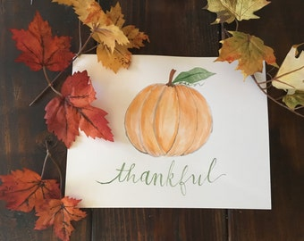 Handlettered Thankful Art Print