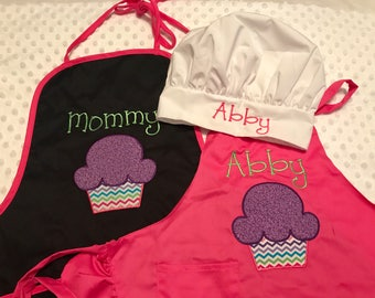 Mommy and Me Personalized Adult and Child Apron and Chef Hat