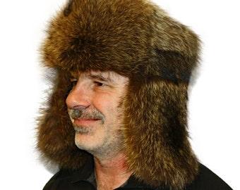 Glacier Wear Natural Raccoon Fur Russian Trooper Hat