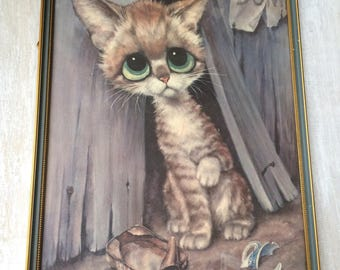 Vintage Big Eye Gia Framed print of Little Kitten with Sad eyes