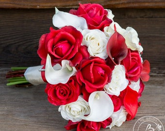 Red and cream wedding bouquet, roses calla lilies bouquet, real touch flowers deep apple red ivory roses calla lilies, natural high end