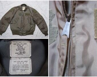 Vintage Retro Men's 90's Flyer's Jacket Bomber Flight Olive Drab Military Issue Army Green Medium Regular 38-40 Made in USA