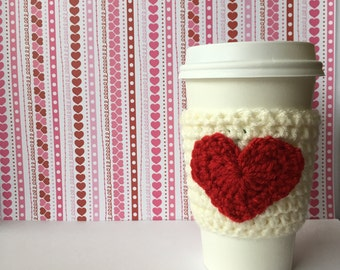 1 for 10 Ivory Sleeve with Red Heart Sweetheart Coffee Cozy Valentine Hearts Drink Cozy