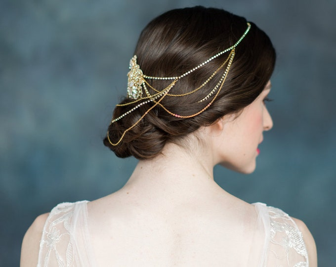 Gold Lace Crystal Hair Chain, Gold Bridal Headpiece, Wedding Hair Chain, Draped Headpiece, Crystal Headpiece, Gold Hair Comb, VIOLET