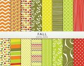 75% OFF SALE Fall Digital Paper - Green Orange Yellow Red Olive - Instant Download Cardstock P7303