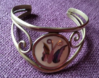 Butterfly Abalone in-lay cuff bracelet. Make in Alpaca Mexico. Hippie Dippie!