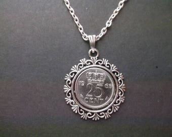 Netherlands Coin Necklace - Netherlands Crown Pendant  dated 1963 in Pendant Tray