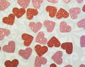 Glitter Heart Confetti in Pink and Red