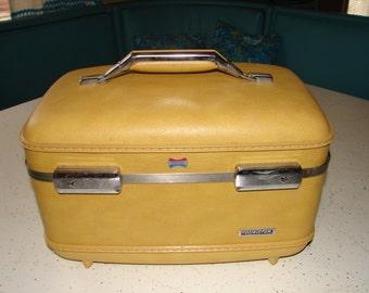 Vintage Yellow Train Case American Tourister Tiara Cosmetics Case