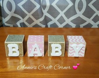 Personalized Baby Name Blocks Pink and Gold 2x2 Inch Name Wooden Letters  Nursery Decor- Newborn-Maternity Photo Prop-Shower Gift- Birthday