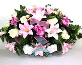 XL Beautiful Pink Lilies Tombstone Saddle Arrangement