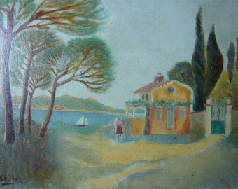 Oil painting  Provence landscape on wooden panel mediterranean sea  view France Côte d'Azur provencal house 1950 signed C.Sidler home decor