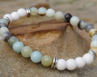 Moonbead Bracelet - Amazonite + White Alabaster