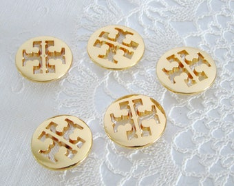 """Tory Burch Gold Tone Metal Buttons, Set of 5 Replacement Buttons, 1 1/8"""" Simone Cardigan/ Shank Buttons"""