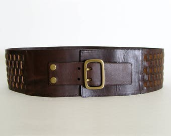 "Vintage 80s Wide Leather Belt, Size Large - 36 - 38"", 3 3/4"" Wide, Dark Brown and Gold Leather Weave"