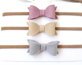 Headband Bow set. Baby Bow headband. Baby headbands. Wool felt bows. Set of 3 small bows - 100% wool felt hair bows on stretch headbands.