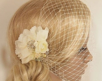 SALE Bridal Veil, Wedding Veil, Bridal Comb, Face Veil, Birdcage Veil, mini veil, Blusher veil, lace Flower Fascinator, Head piece