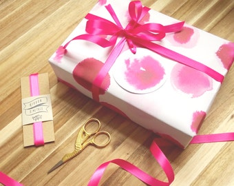 Valentine's Pink Gift Wrap Set In Flirty Pink With Ribbon And Gift Tags // Wrapping Paper // Gift Wrap Pack