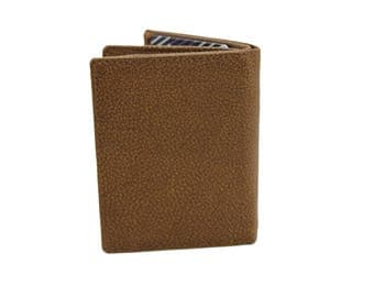 Men Slim Trifold Book Genuine Leather Wallet Coins Card Cash Kango TAN 215