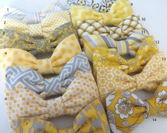 Mismatched Grey Yellow Mix And Match Bow Ties, Grey Yellow Wedding Bow Ties Yellow Grey Wedding Bow Ties, Grey Yellow Pretied Bow Ties
