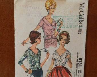 Vintage McCall's 1960's Ladies Blouse Pattern