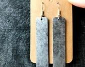 Metallic Gray Leather Bar Earrings, gray leather bar earring, leather statement earring, metallic gray leather earring