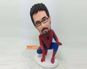 Spider man bobblehead Birthday Gift custom bobblehead superhero bobblehead Christmans Gift spider man bobble head - BH G1112