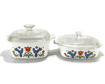 Corning Ware Country Festival Baking Dishes * Square 1-1/2 and 1 Quart Casseoles with Lids  * Pyrex Friendship Compatible * Bluebirds