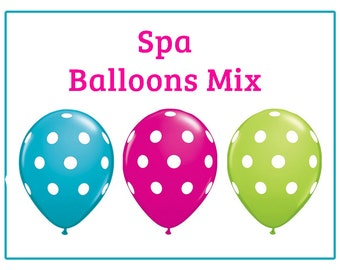 "Spa polka dot Print 11"" Balloons Hot pink Teal Lime green  birthday party decorations wedding bridal shower baby shower party decor"