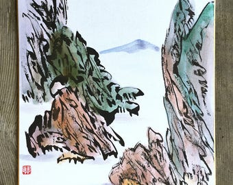 Mountain and Water, Chinese Calligraphy, Meditation Art, Peaceful Art, Zen Art, B&W, Wall Art, Shikishi Board, Hanging Scroll - Japanese Art