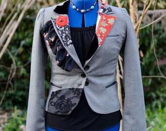 Boho Clothing, Bohemian Upcycled Clothing, Anthropologie, Boho Jacket, Altered Couture, Festival Jacket, Repurposed Clothing, Size Small